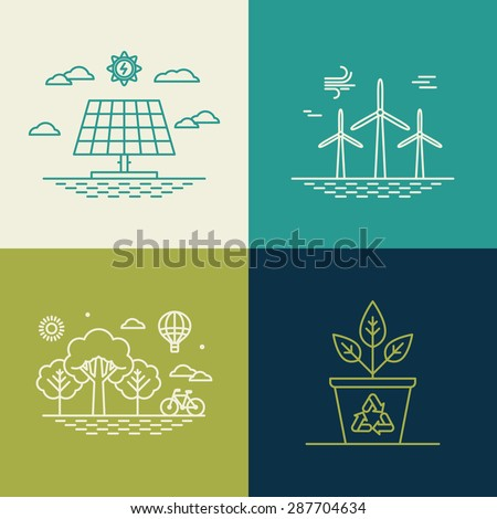 Vector ecology concepts in trendy linear style - alternative energy genereators - stock vector