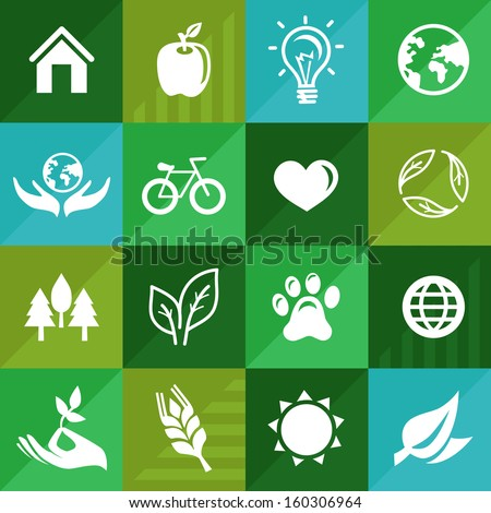 Vector ecology icons and signs in flat retro style - go green - stock vector