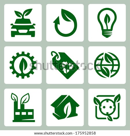 Vector ecology icons set - stock vector