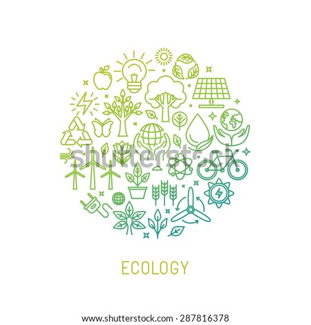 Vector ecology illustration with icons and signs in linear style - alternative energy, natural conservation and environment protection concept - poster or banner template - stock vector