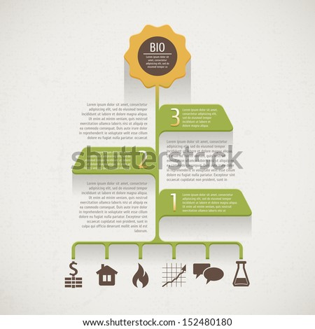 Vector Ecology infographics. Info on eco design - stock vector