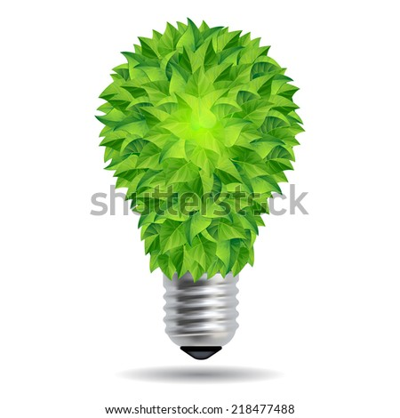 Vector ecology light bulb with green leaves isolated on white background. Renewable energy symbol - stock vector