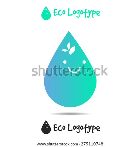Vector ecology logo or icon in eps, nature logotype, water symbol with smile - stock vector
