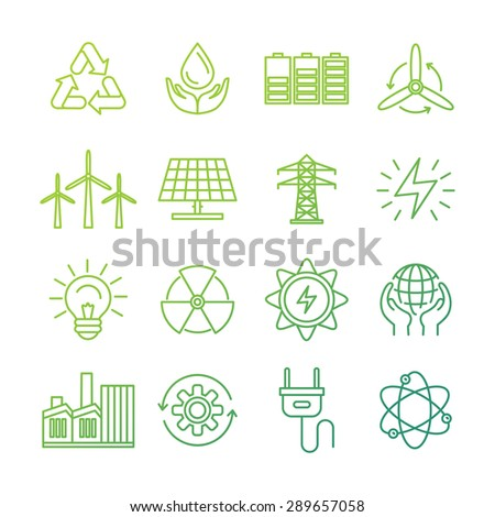 Vector ecology signs and icons in trendy mono line style - collection of alternative energy related concepts - eco and bio environmentally friendly power generation and nature conservation - stock vector