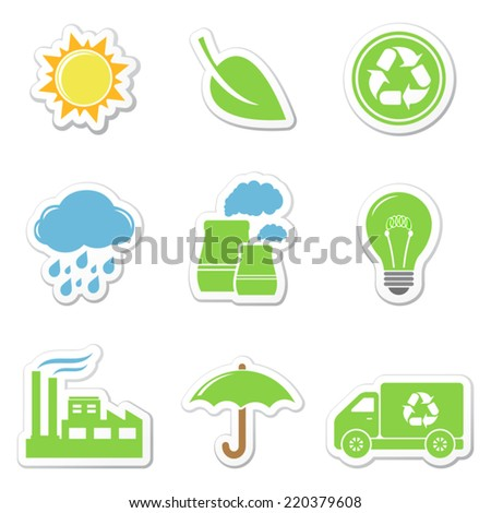 Vector ecology stickers - stock vector