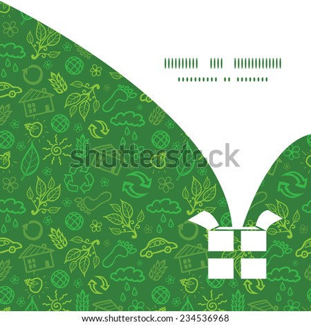 Vector ecology symbols Christmas gift box silhouette pattern frame card template - stock vector