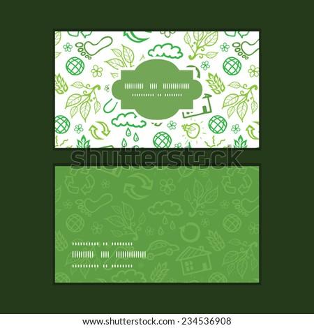 Vector ecology symbols horizontal frame pattern business cards set - stock vector