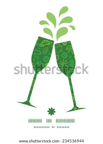 Vector ecology symbols toasting wine glasses silhouettes pattern frame - stock vector
