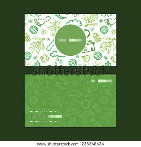 Vector ecology symbols vertical round frame pattern business cards set - stock vector
