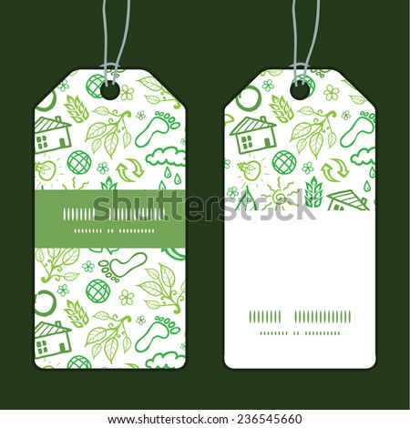 Vector ecology symbols vertical stripe frame pattern tags set - stock vector