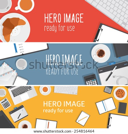 Vector editable banners - hero images made from stationery objects typical for graphic studio and office. Ready for use. - stock vector