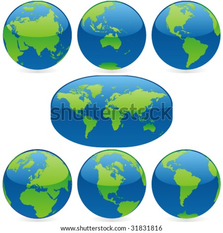 vector editable colored world map and  globes - stock vector