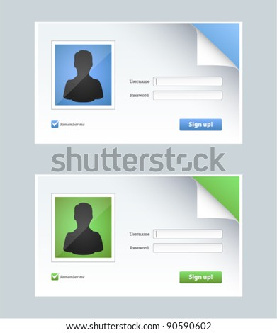 Vector editable contact form with person icons in two colors - stock vector