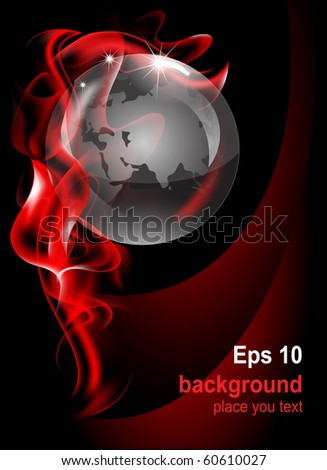 Vector editable fantastic abstract background with a transparent globe - stock vector