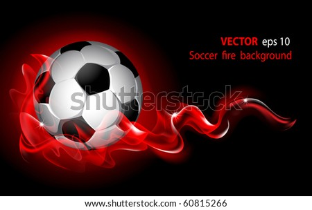 Vector editable fantastic football background with a soccer ball - stock vector