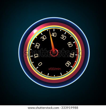 Vector editable illustration of a car dash panel with tachometer, speedometer, temperature level and gasoline level indicators. Abstract automotive detailed  image on a dark background. - stock vector