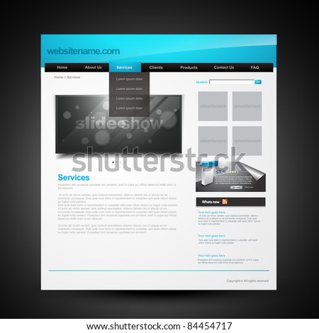 vector editable webpage layout for website