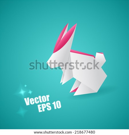 Vector editable white origami hare - stock vector