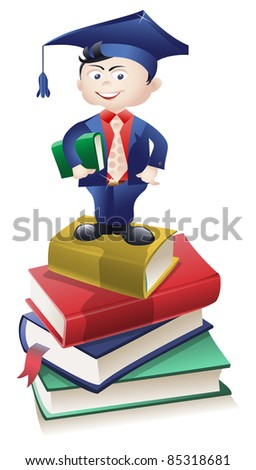 Vector educated boy standing atop a pile of books