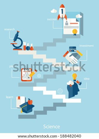 Vector education and science concept. Flat design. - stock vector