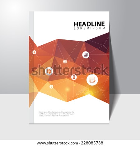 Vector education book cover design template with polygonal background  - stock vector