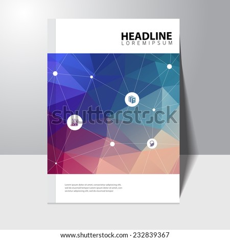 Vector education book cover design template with polygonal background