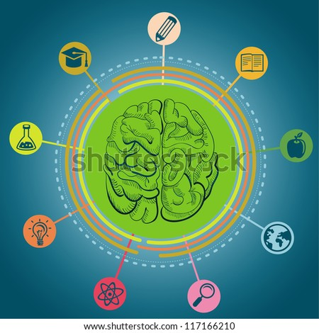 Vector education concept - brain and science icons - stock vector