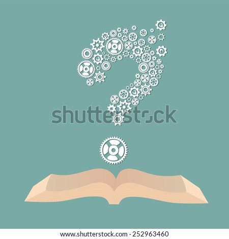 Vector education concept with book icon and question mark - stock vector
