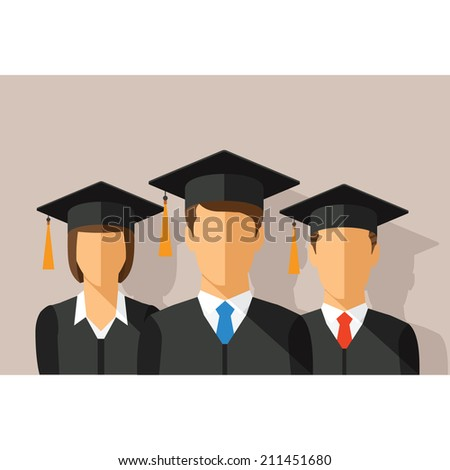 Vector education concept with students in graduation gown and mortarboard - stock vector