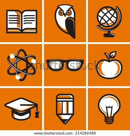 Vector education concepts in flat outline style - school and university icons and signs - stock vector