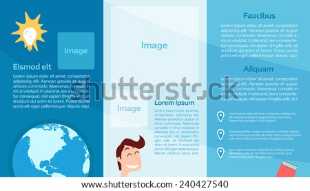 Vector Education Flyer in blue color with space for your images and text. - stock vector