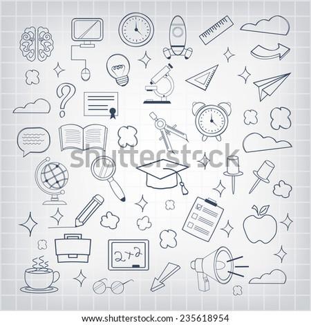 Vector education icon set - stock vector