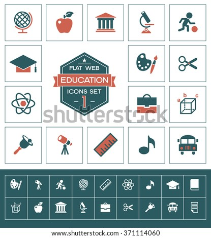 Vector education icons set.Trendy security vector elements.  Modern flat design. - stock vector