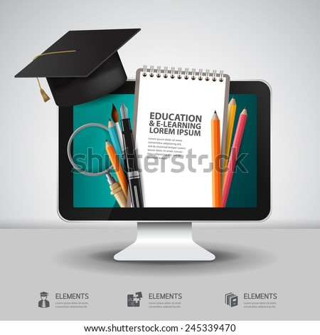 Vector Education school university e-learning concept with computer - stock vector