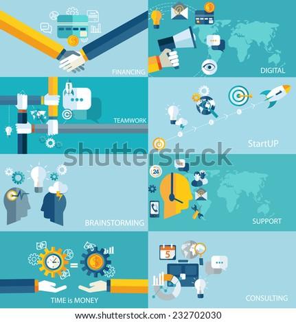 Vector education, start up, banking concept, business, digital, brain, support, analytic, teamwork. Flat design. - stock vector