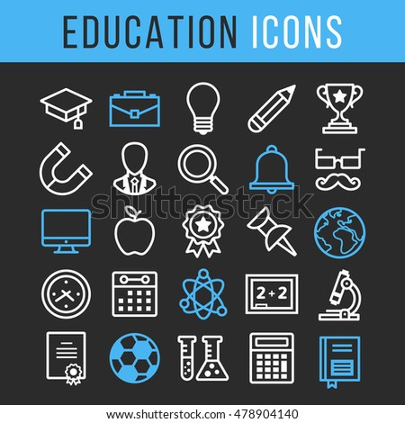 Vector education thin line icons set. Blue and white icons isolated on black background