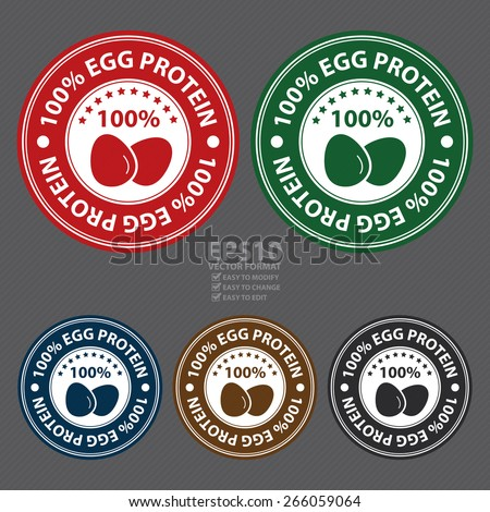Vector : 100% Egg Protein Badge, Label, Sticker, Banner, Sign or Icon - stock vector