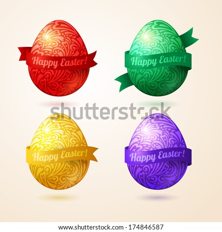 Vector eggs made of pattern with ribbons. Easter egg in doodle style with place for your text. Easter template design for greeting and invitation cards. Abstract 3D shape.