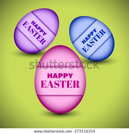 """Vector eggs with """"Happy Easter"""" sign for advertising and other creative designs. Editable vector with several layers. Eps 10 - stock vector"""