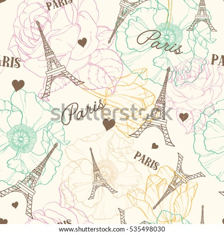 Vector Eifel Tower Paris Seamless Pattern In Vintage Style With Beautiful, Romantic Pastel Flowers. Perfect for travel themed postcards, greeting cards, wedding invitations. Repeat design.