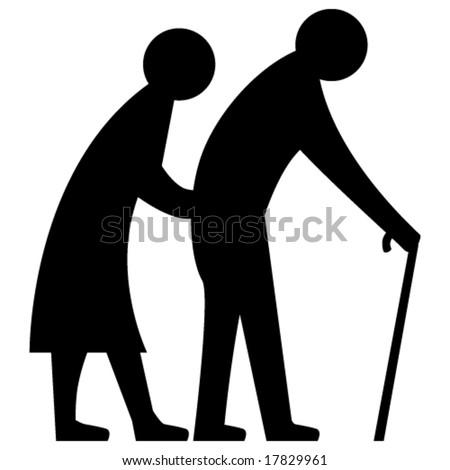 Vector Elderly Couple - stock vector