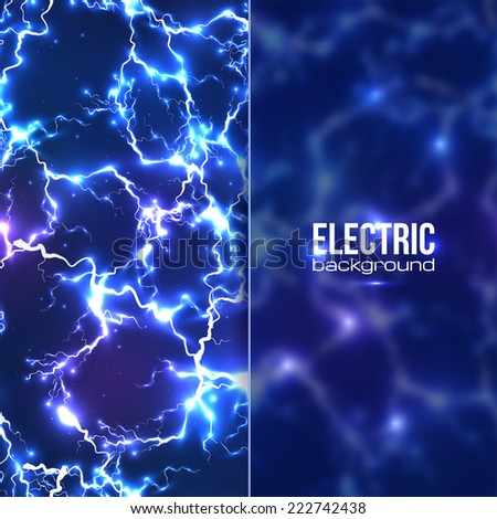 Vector electric background with plastic transparent banner - stock vector