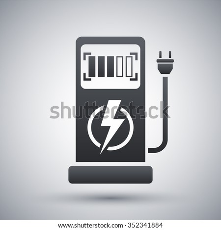 Vector electric car charging station icon - stock vector
