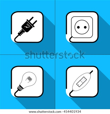 Vector. Electric icon. Socket , lamp, electric plug, power icon. on a blue background - stock vector