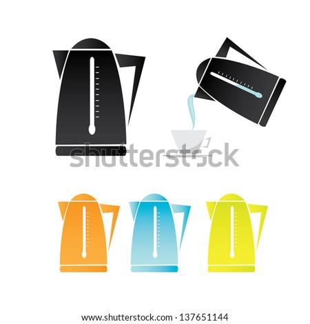 vector electric kettle icon set. - stock vector