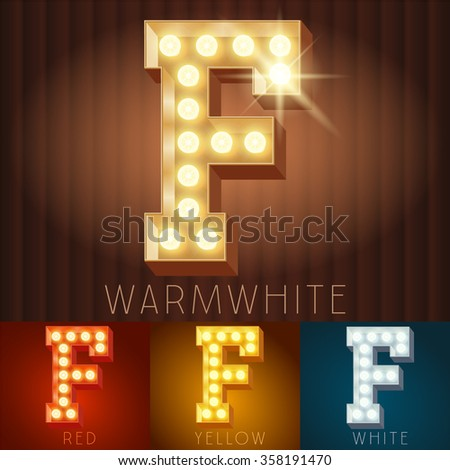 Vector electric light up lamp alphabet in hard font. Letter F - stock vector