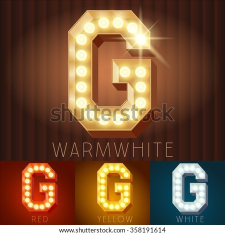Vector electric light up lamp alphabet in hard font. Letter G
