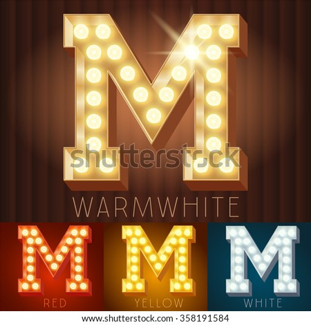 Vector electric light up lamp alphabet in hard font. Letter M - stock vector