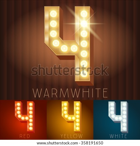 Vector electric light up lamp alphabet in hard font. Number 4 - stock vector