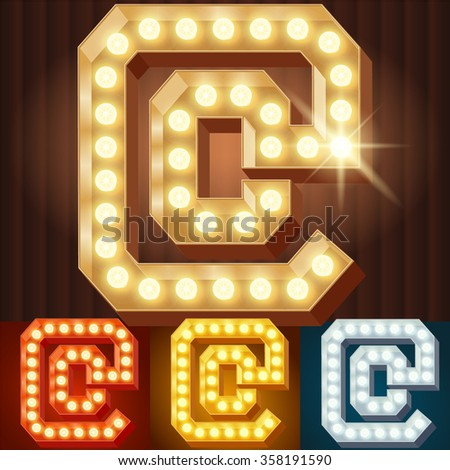 Vector electric light up lamp alphabet in hard font. Symbol 1